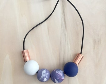 polymer clay necklace | marble necklace | statement necklace | modern necklace | beaded necklace | clay necklace | unique gift for her