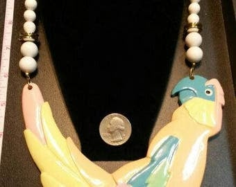 vintage necklace, lucite, statement piece, beautiful, never worn, new, parrot, bird,