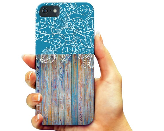 Floral Wood iPhone 5 6 7 Plus Case, Shapes Galaxy s6 s7 Case, Slim Tough Android Phone Case, Rubber Insole Phone Case