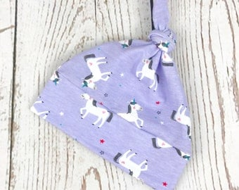 Purple Unicorn Print Baby Knot Hat, Newborn Unicorn Knotted Hat