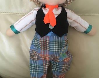 boy rag doll, cloth rag doll, boy fabric doll, keepsake boy doll