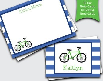 Personalized Kids Thank You Cards / Bicycle / Thank You Cards / Bike Thank You Cards / Set of 20 (Item #1702-071FF)