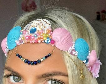 Mimi Pink & Blue Flower Sea Shell Mermaid Crown