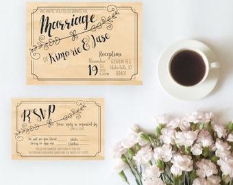 Vintage Country Wedding Invitation Set