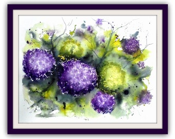 Painting - Flowers - Original watercolor - Hydrangeas - 34x44 cm