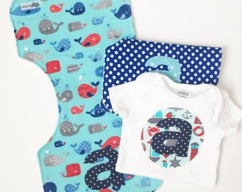 Personalized burp cloth boy-Burp clothes-Monogrammed-Nautical-Whales-Onesie-Personalized Baby gift boy-Burp rags-Nautical baby-Flannel-Set
