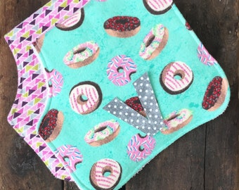 Personalized burp cloths-Girl burp cloths-Burp clothes-Donuts-Monogrammed-Personalized baby gift girl-Baby shower-Newborn gift-Burp Rags