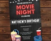 Printable Movie Night Party Invitation  Digital Chalkboard Movie Night Party Invitation  Movie Night Invite  DIY Party Invitation