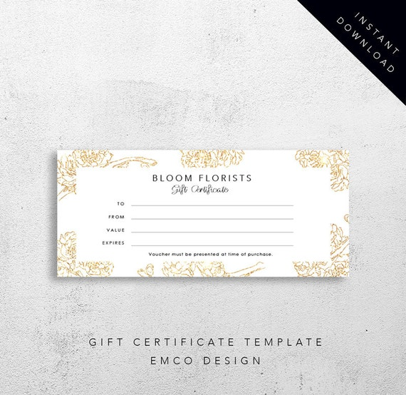 Bloom gift certificate template florist gift voucher for Shopping certificate template