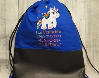 "Gym bags ""come on Unicorn we go"""