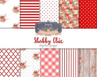 SALE Shabby chic red, shabby chic digital paper, floral digital paper red, roses digital paper, decoupage paper, red floral