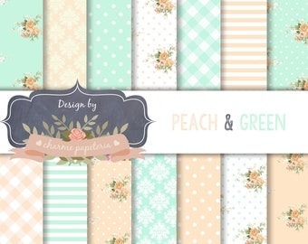 SALE Peach and Green Digital Papers, Floral Digital Paper, Floral Digital Paper Roses, Peach and Green Papers - INSTANT DOWNLOAD