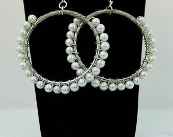 Pearl Wire Wrapped Hoop Earrings