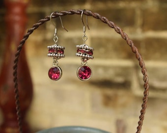 Silver and Pink Crystal Earrings
