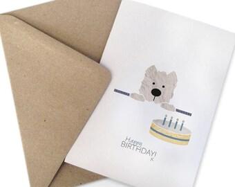 Scheda di compleanno di Westie, Wallace il Westie, West Highland Terrier illustrazione, Westie regalo, carta di compleanno del cane, Westie arte, Bestseller