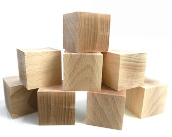 5 x 5 cm - 8 pcs wooden Cubes - unfinished wood - craft DIY