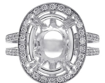 0.80 Carat Round Diamond Split Shank Halo Engagement Mounting 18K White Gold
