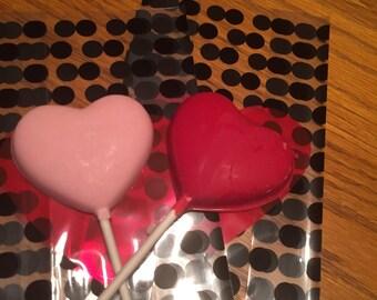 Chocolate heart lolipops