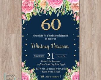 60th birthday invitations, 60th birthday invitations for women, 60th birthday invites, 60 birthday invitations, surprise 60th birthday