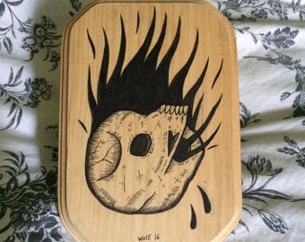 Skull on Fire / India ink on wood piece