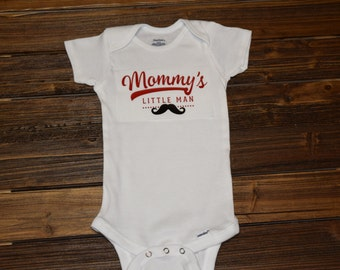 Mommys Little man Baby Bodysuit Baby  Baby Shower Gift Nursery Custom Clothing Infant Choice Of Font Color {K87}