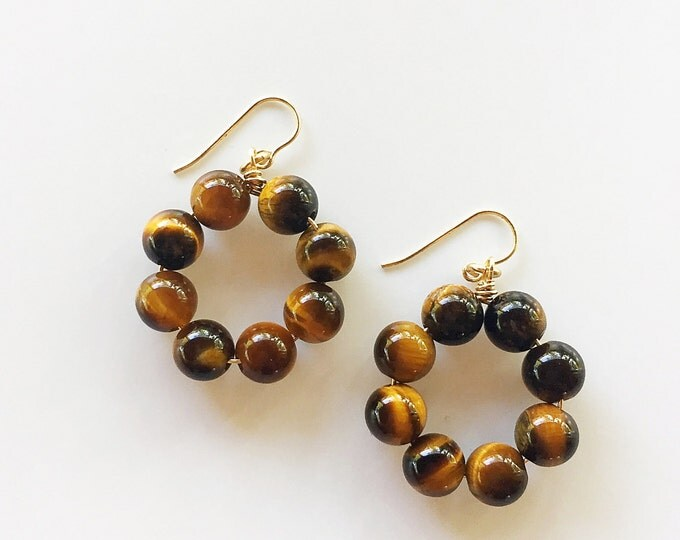 Reiki-Infused Tiger's Eye Earrings, Brown Crystal Jewelry, Healing Stone Beads, Boho, Gifts For Her, Bridesmaid Gift, Dangly Hoops, Chakra