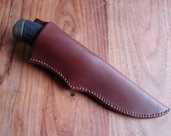 Custom leather knife sheath - friction fit with belt loop