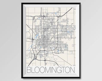 BLOOMINGTON Illinois Map, Bloomington City Map Print, Bloomington Map Poster, Wall Art, Bloomington gift, Custom Personalized Illinois map