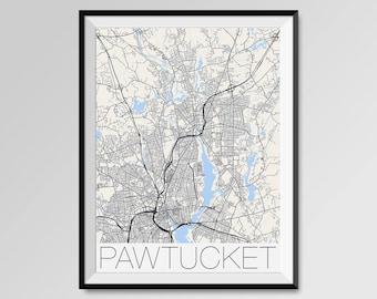 PAWTUCKET Rhode Island Map, Pawtucket City Map Print, Pawtucket Map Poster, Pawtucket Wall Art, Pawtucket gift Custom city, Personalized map