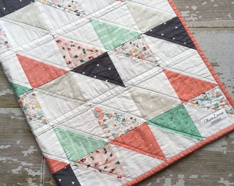 Vintage-Inspired Baby Quilt - Patchwork Crib Quilt - Floral Coral Triangle Quilt
