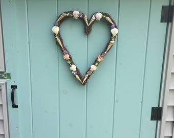 Beach Decor, Lovely heart shaped grapevine wreath with shells and dried flowers