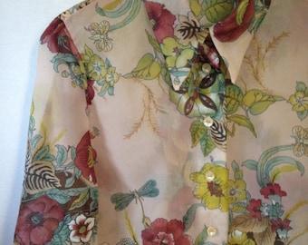 1970s pink semi sheer floral print blouse by Teddi of California
