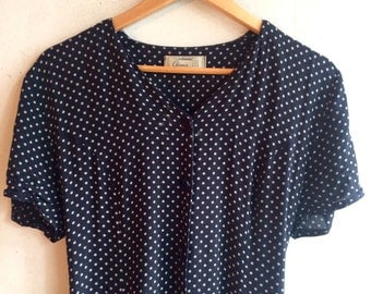 Pretty polka dot dress - with navy buttons & tie at the back