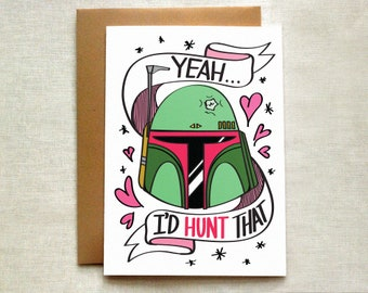 Boba Fett Love Card, Star Wars Card, Valentine's Day Card, Funny Love Card