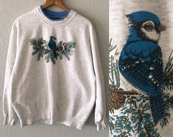 Vintage Blue Jay Bird 1990's JayBird Graphic 90's Sweatshirt