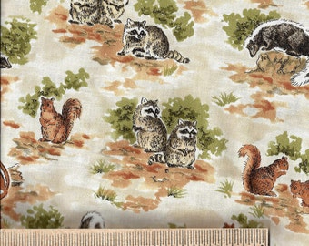 David Textiles Fabric - FOREST CRITTERS - Raccoons, Skunks, Squirrels, Chipmunks - 100% Cotton - Quilt Shop Quality Fabric - By the Yard