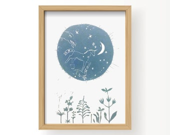 STAR. MOON. CONSTELLATIONS. medium blue grey / hand printed