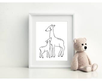 Mummy Deer Print