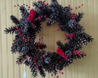 "Handmade, Pine cone & red berry wreath, 22"""