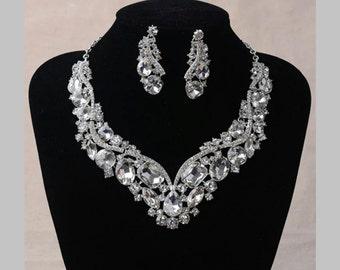 Silver Bridal Jewelry Set Bridesmaids Jewelry Bridal Necklace Set Bridal Crystal Necklace Crystal Jewelry Wedding Accessories