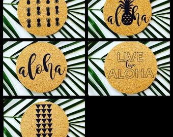 Hawaii MIX AND MATCH Coaster Set ~ Hawaii Coaster ~ Aloha Coaster ~ Live Aloha Coaster ~ Pineapple Coaster ~ Hawaii Coaster Set