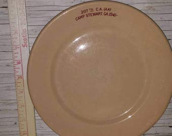 """Vintage Militaria 1941 Camp Stewart Ga. 207th. C.A. AA Perfect condition. Scammells Trenton China. 9 1/2"""" Wide."""