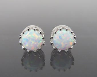 Vintage Sterling Silver White Opal Crown Stud Earrings