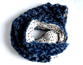 Blue Minky Baby Blanket, Flannelette Blanket, Boy Minky Blanket, Falnnel Baby Blanket,Reversible Baby blanket ~ Blue Minky swirl blanket