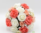 Artificial Wedding Flowers Orange Coral Peach  Ivory Rose Bridesmaids Bouquet Posy with Ranunculus