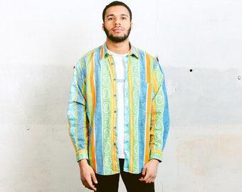 Striped 90s Shirt . Vintage Aztec Print Shirt Long Sleeve Colorful Printed Hippie Shirt Mens Ethnic Top Navajo Shirt . size Large L
