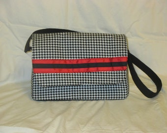 Black and White Hounds Tooth Purse with Red Accents