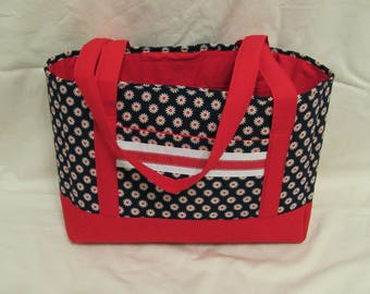 Red and Navy Daisy Tote