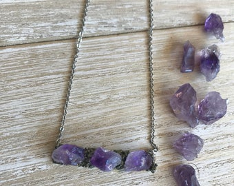 Bar necklace, amethyst necklace, February birthstone, wedding jewelry, rose gold, raw crystal necklace, raw amethyst, birthstone jewelry