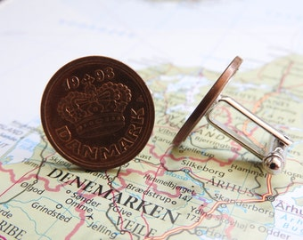 Denmark crown coin cufflinks - made of pre-euro coins from Denmark